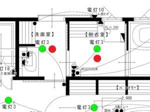 洗面室と脱衣室の照明設置位置