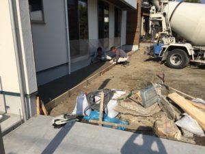 犬走りのコンクリート施工