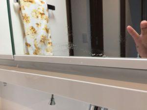 くもり止めコート鏡に一筋のキズ(汚れ?)の除去作業に挑戦!