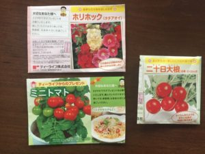 ミニトマト、二十日大根、ホリホックの種を蒔きました