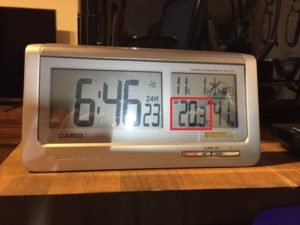 11月1日の朝の室温です