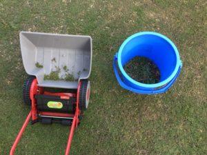 二人で庭の草取りを行いました