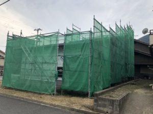 田尻町の建築中のお家(大きな屋根)