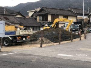 旧水呑農協跡地で工事開始