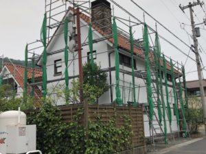 塗り壁のお家の外壁塗装が完了